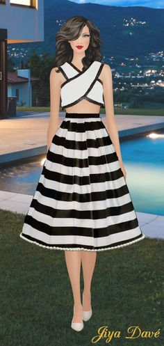 My Final Design: The skirt is a monochrome, striped silk-satin midi skirt with meshed overlay. A-line pleated skirt with pearl hem detail and invisible side zip.  The Top is a criss cross monochrome cotton crop top with black satin trim with lining and an invisible zip Satin Midi Skirt, Pleated Skirt, High Street Brands, Cotton Crop Top, Black Satin, Silk Satin, Kendall Jenner, Crop Tops, My Style