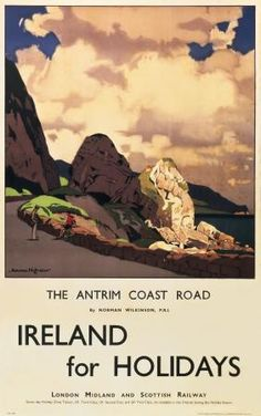 Irish Art Travel Poster,  Antrim Coast road, Northern Ireland by Norman Wilkinson