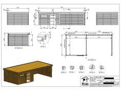 tuinhuis platdak met grote overkapping afbeelding 4 Eco Cabin, Floor Plans, Ideas, House Floor Plans