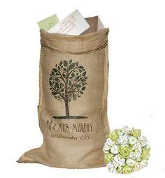 PERSONALISED Wedding Post Box Wishing Well Card Recieving Hessian Sack Dark tree