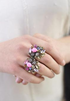 Mix pastel with gold and vintage tones metals Antique Gold and Pastel Jewelled Double Ring