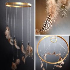 Design Ideas: Embroidery Hoop Feather Mobile - Modern Embroidery Project Ideas, Hoops and All! Embroidery Hoop Crafts, Baby Embroidery, Modern Embroidery, Dream Catcher Mobile, Feather Dream Catcher, Happy Birthday Flower Cake, Feather Mobile, Diy Clothes Hangers, Diy Dog Crate