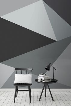 This super stylish geometric wall design encompasses sleek lines with a neutral yet beautiful palette of greys. It looks wonderful in living room spaces, and works harmoniously in interiors. Interior Walls, Home Interior Design, Wall Paint Combination, Geometric Wallpaper Design, Paint Combinations, Wall Wallpaper, Stone Wallpaper, Bedroom Wallpaper, Bedroom Art
