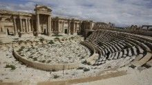 The Roman amphitheater in Palmyra, Syria, is pictured here before it was captured by ISIS. New satellite images released by Syrian Antiquities show significant damage to the pillar facade.
