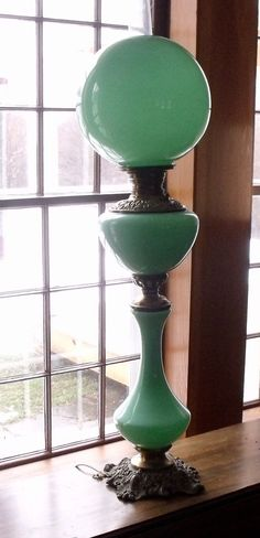 Victorian Jadeite Electrified Oil Lamp - I MUST find this lamp and buy it. It's just too perfect!