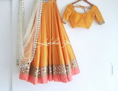 Always dress like it s the best day of life. Beautiful mustered color lehenga and blouse with hand embroidery mirror work on boarder. Half Saree Designs, Choli Designs, Lehenga Designs, Indian Designer Outfits, Designer Dresses, Indian Attire, Indian Wear, Indian Style, Indian Wedding Outfits