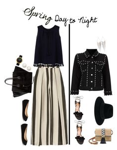 """""""Spring Day to Night'"""" by dianefantasy ❤ liked on Polyvore featuring Etienne Deroeux, Violeta by Mango, Aquazzura, Stella & Dot, CÉLINE, Maison Michel, Jules Smith, Kate Spade, polyvoreeditorial and daytoevening"""