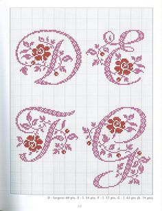 Cross-stitch Alphabets with Flowers, part no color chart use pattern chart as your guide. Monogram Cross Stitch, Cross Stitch Alphabet Patterns, Embroidery Alphabet, Cross Stitch Borders, Cross Stitch Charts, Cross Stitching, Cross Stitch Embroidery, Stitch Patterns, Plastic Canvas Letters
