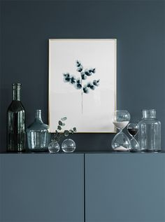 Cotton plant blue, poster