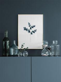 Cotton plant blue, poster