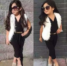 White fur vest black pant romper with tan belt sunglasses Mommy And Me Outfits, Little Girl Outfits, Cute Girl Outfits, Cute Outfits For Kids, Little Girl Fashion, Toddler Girl Outfits, Fashion Kids, Toddler Fashion, Moda Kids