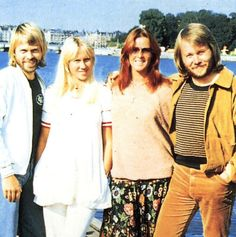 """Stockholm, summer of 1977: The ABBA members with the sun in their faces while taking a break from recording """"The Album""""."""