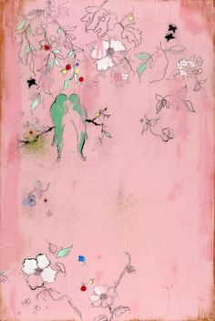 """Kathe Fraga paintings, inspired by vintage Paris and Chinoiserie Ancienne. """"Dans Le Jardin"""" on frescoed canvas, 24x36. www.kathefraga.com"""