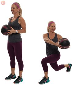 Chris Freytag demonstrating Medicine Ball Reverse Lunge with Rotation in a black tank top using a black medicine ball