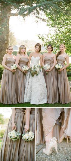 Classic and elegant taupe bridesmaids