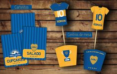 #Boca #kitcumple Cartelitos comida #cajas y camisetas para centros de mesa #imprimible Candy, Bar, Cool Stuff, Ideas, Candy Bags, Sweets, Manualidades, Thoughts, Candy Bars