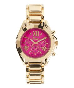 Look what I found on #zulily! Hot Pink & Gold Chronograph Watch #zulilyfinds