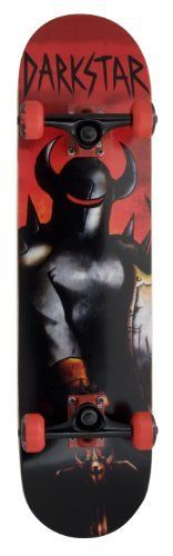 """Darkstar 60 Skateboard- Ruler by Bravo. $51.96. Bravo Sports Darkstar 60 skateboard features a 31"""" X 7.75"""" 7 ply Canadian Maple, double kicktail, painted 5"""" trucks, 53mm polyurethane wheels and ABEC 5 carbon steel bearings. All artwork is completely created and designed by the Darkstar team riders. A great mid-level skateboard for an experienced rider."""