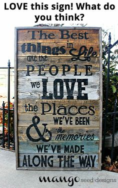 Wooden signs to inspire
