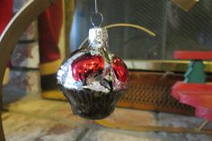 vintage glass cupcake ornament by MyVintageAngels on Etsy, $18.00