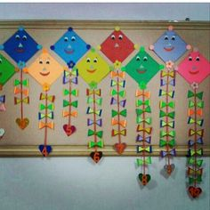 - Spring Crafts For Kids Kite Decoration, Board Decoration, Class Decoration, School Decorations, Preschool Art Activities, Kindergarten Crafts, Cardboard Crafts Kids, Kites Craft, Birthday Charts