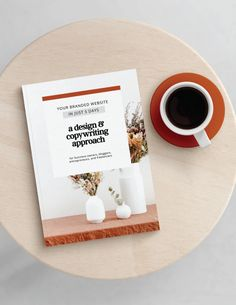 An e-book that I will be writing soon. Planning to use this as a content upgrade/lead magnet after I re-launch my site. So excited about the colors, imagery, and typography! Can't wait to bring this to life. Lead Magnet, Copywriter, Floral Style, Coffee Cups, Branding Design, How To Make Money, Typography, Bring It On, Product Launch