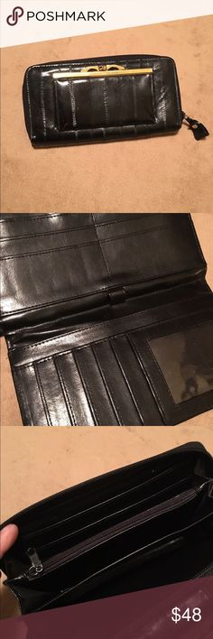 Lee Sands eel skin wallet Soft eel skin wallet, lots of room, ckbook closes with snaps inside had 10 spaces for cards & 3 spots big enough for bills, zio side has sm zip pocket & 3 seperate slip bigger pockets, outside has anneasy open change purse, lookd like it's never been used, only wear is to paint on the zipper pull, this is really nice  & in great condition Lee Sands Bags Wallets