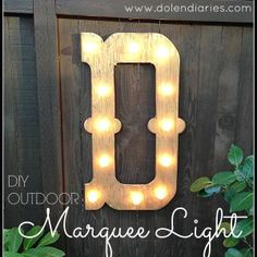 We love our backyard! The evergreens WA is known for make for a beautiful view. As lovely, as the trees are I felt like my view needed a little bling! This DIY Outdoor Marquee Light adds a little something to my backyard day & night! Marquee Letters, Marquee Lights, Wood Letters, Diy And Crafts, Arts And Crafts, Diy Mothers Day Gifts, Mother's Day Diy, Spring Home, Craft Projects