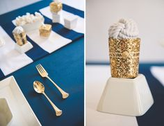 Navy blue plus gold accents equals a nautical look that's totally glam. | via Tidewater and Tulle