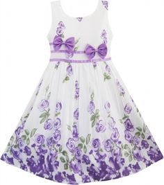 Girls Dress Purple Rose Flower Double Bow Tie Party Sundress Size 4-12, http://www.amazon.com/dp/B00K0U55VO/ref=cm_sw_r_pi_awdm_mzlNtb1FPWGJ0