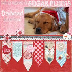 1 photo 1 page scrapbook layout Visions of Sugar Plums Dog Scrapbook Layouts, Scrapbook Sketches, Scrapbook Cards, Christmas Scrapbook Layouts, Scrapbook Paper Crafts, Christmas Layout, Paper Crafting, Creative Memories, Making Ideas