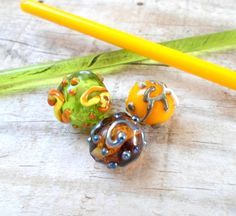 Glass Lampwork Beads Handmade Glass Bead by CandanLampworkBeads