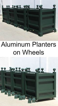 Custom aluminum garden planters on wheels by Accents of France.