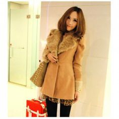 $16.29 New Style Corean Fashion and Lovely Style Puff-Sleeves and Fur Collar Decorated Coat For Female