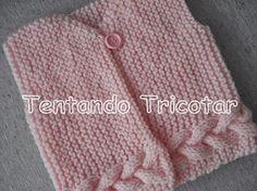 Tentando Tricotar: Colete rosa com trança