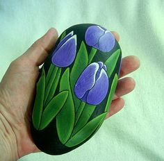 Tulips, hand painted rock, OOAK indoor cottage home decor, rustic cabin plants, handmade by RockArtiste Tulip Painting, Plant Painting, Pebble Painting, Pebble Art, Stone Painting, Rock Painting, Stone Crafts, Rock Crafts, Pierre Decorative