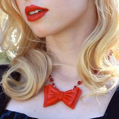 Perky Bow Necklace Red by Classic Hardware