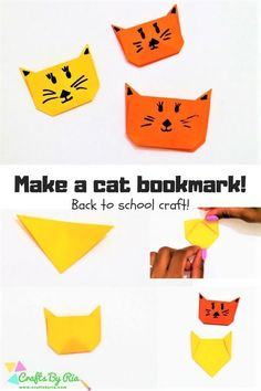 Corner Bookmarks- Cat and Mouse Make a cat corner bookmark very easily with this step by step tutorial. Fun Back to school craft for kids.Make a cat corner bookmark very easily with this step by step tutorial. Fun Back to school craft for kids. Animal Crafts For Kids, Paper Crafts For Kids, Crafts For Kids To Make, Craft Activities For Kids, Easy Crafts, Learning Activities, Paper Crafting, Kids Diy, Toddler Activities