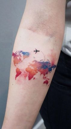 world map watercolor tattoo for travel lovers © tattoo artist Irina Doroshenko 💓💓💓💓💓