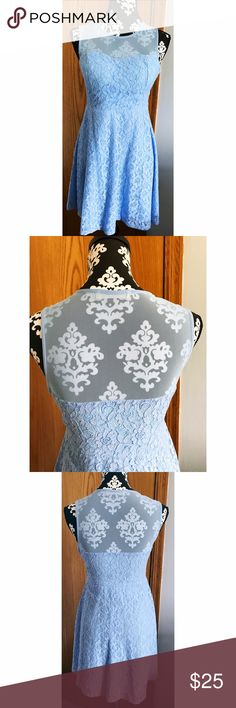"""CCO Sale Baby Blue Lace Dress Size Small. 100% cotton. Fully lined. Side zipper. 30"""" in length. Boutique Dresses"""