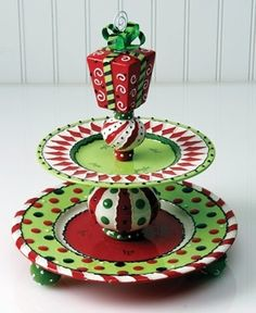 What a great idea! Whimsical plates from dollar stores glued together for an unusual serving plate...
