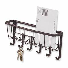 InterDesign® Wall Mount Mail & Key Rack in Bronze - BedBathandBeyond.com