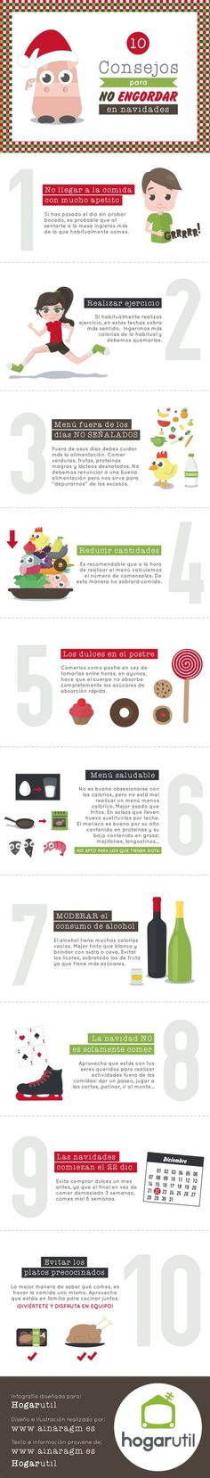 #Infografia 10 consejos para no engordar en navidades by @ainaragm