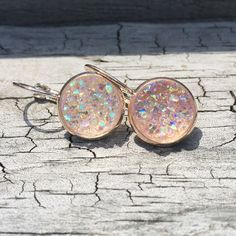 Image of Rose gold clasp earrings, assorted Druzy colors