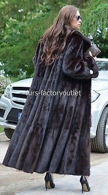 Nouveau Royal Mink Fur Long libertin manteau classe de Sable Chinchilla Fox Veste Noir