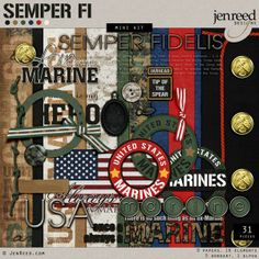 Marines Military Digital Scrapbook Kit www.JenReed.com