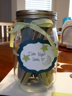 Date night idea jar!  Have all the guests at the wedding shower write date night ideas on craft sticks and put them in a jar.  I painted the sticks with watered down paint in the wedding colors.