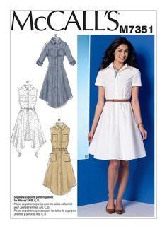 McCall's 7351 McCall's 7351 Robe et ceinture pour femme Easy Sewing Patterns, Mccalls Sewing Patterns, Vintage Sewing Patterns, Clothing Patterns, Dress Patterns, Sewing Clothes, Diy Clothes, Shirt Dress Pattern, Miss Dress