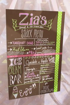 Great snack menu at this ice cream party! #icecream #party #menu