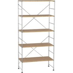 Max Chrome 5-Shelf Unit with Wood Shelves in Bookcases, Cabinets | Crate and Barrel